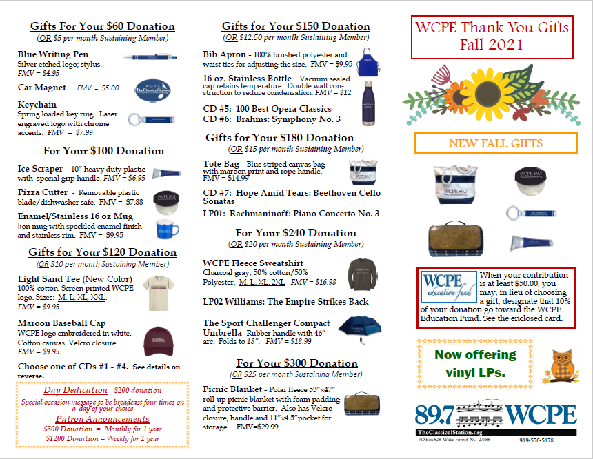 Fall 2021 Thank You Gifts brochure (outside)